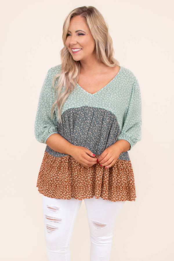 shirt, three quarter sleeve, vneck, babydoll, tiered, flowy, long, mixed floral, mint, gray, orange, comfy