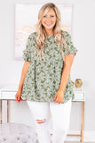 shirt, short sleeve, ruffle sleeves, babydoll, flowy, long, green, white, floral, comfy, spring, summer
