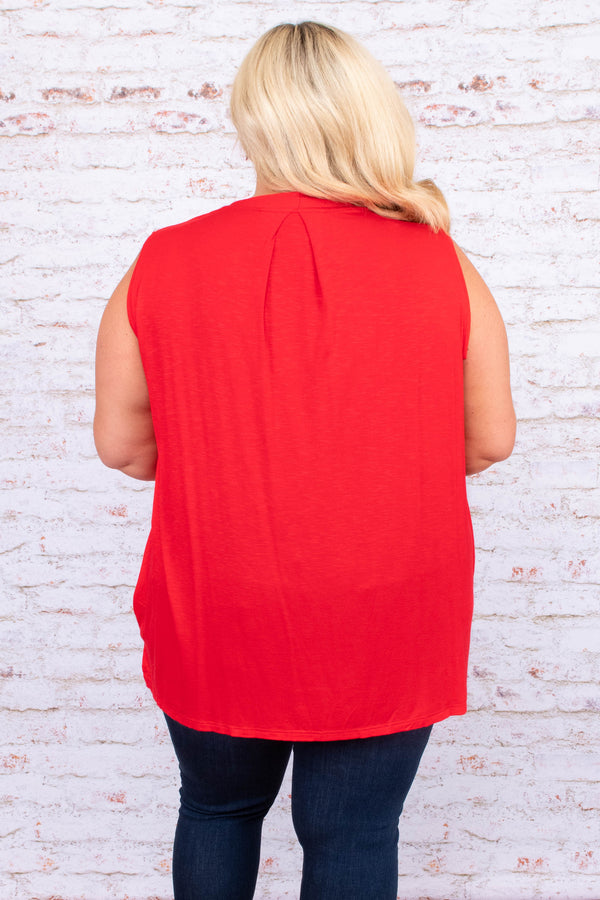 shirt, wrap front, loose, comfy, v neck, red, sleeveless