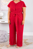 jumpsuit, short sleeve, long pants, wide leg, vneck, ruffle top, tie waist, comfy, red