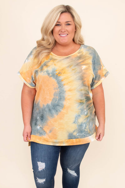 shirt, short sleeve, tie dye, orange, blue, comfy, loose