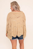 sweater, three quarter sleeve, wavy hem, loose, loose knit, beige, comfy