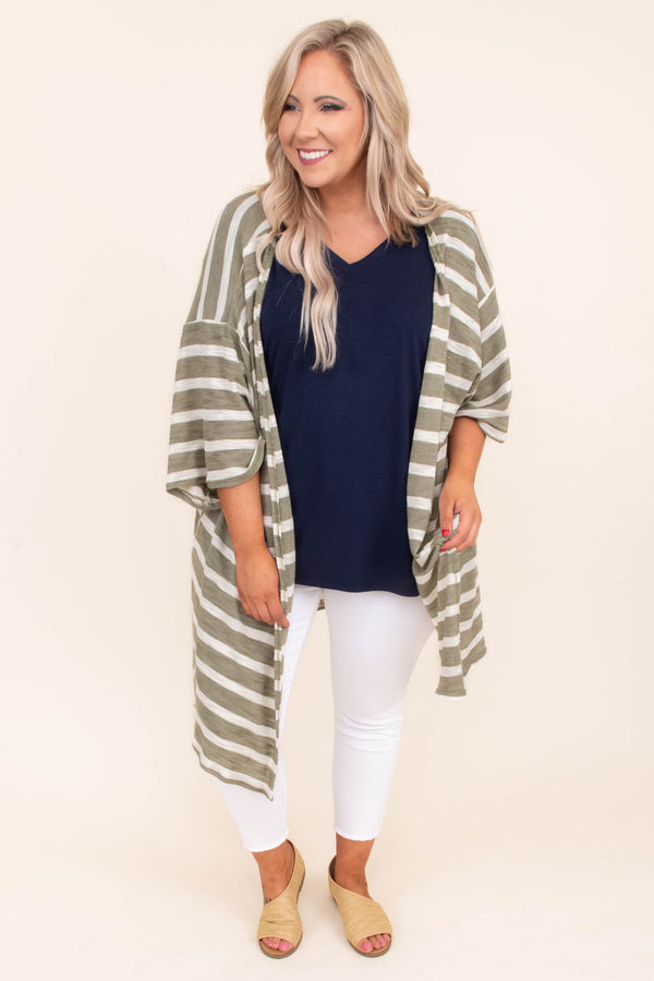 cardigan, three quarter sleeve, long, flowy, loose, sleeves, olive, white, striped, comfy