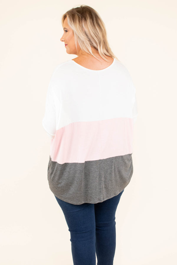 top, tunic, color block, ivory, blush, charcoal