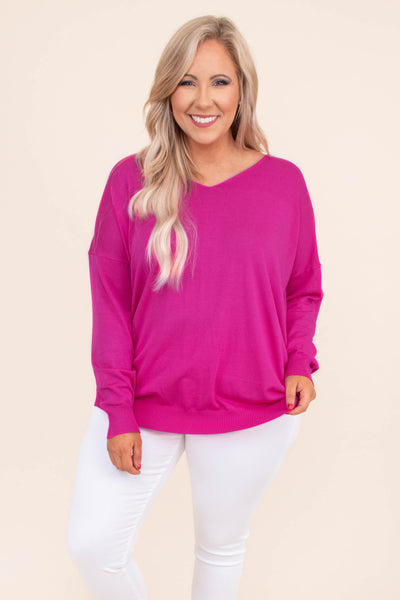 sweater, long sleeve, vneck, loose, hot pink, comfy