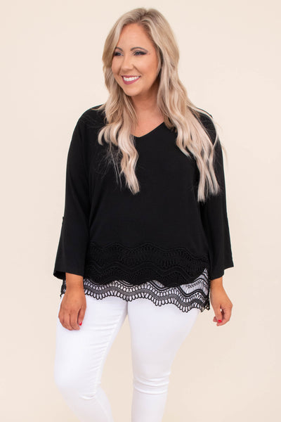 blouse, three quarter sleeve, vneck, loose, lace trim, black, comfy