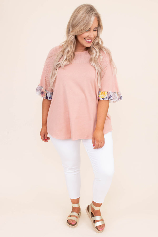 shirt, short sleeve, loose sleeves, floral cuff, white, mauve, curved hem, loose, blush, comfy, spring, summer