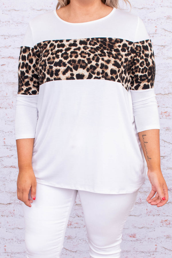 shirt, three quarter sleeve, short, white, black, brown, leopard, colorblock, comfy