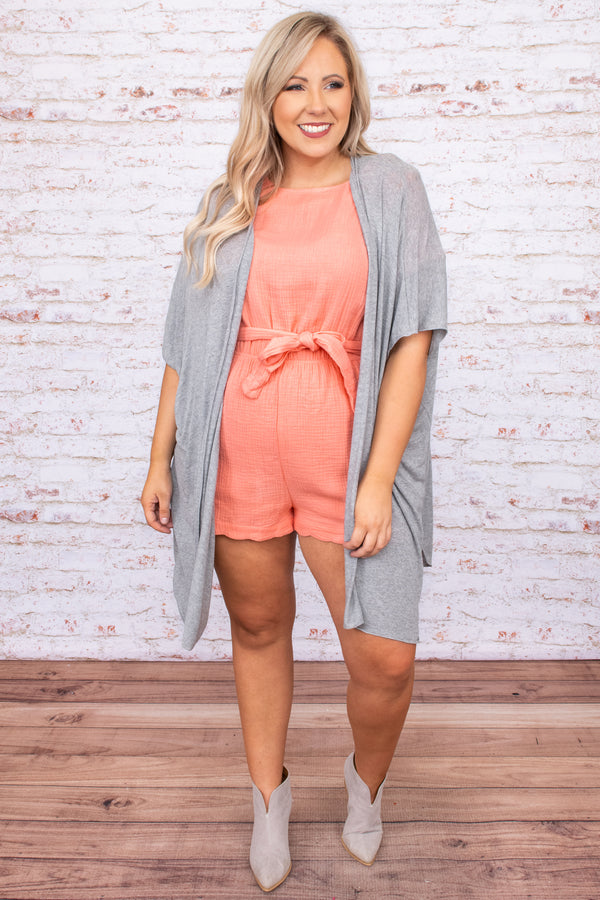 romper, shorts, tie waist, peach, short sleeve, scalloped details, spring, summer