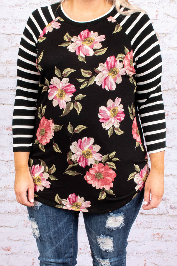 shirt, three quarter sleeve, curved hem, long, fitted, black, floral, pink, white, green, striped sleeves, comfy
