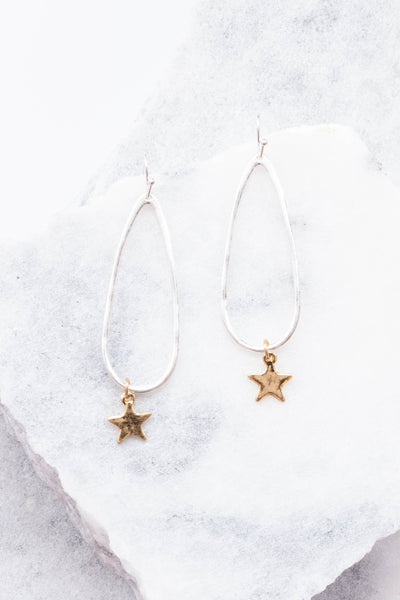 earrings, dangly, teardrop, silver, gold stars, long