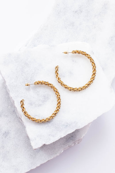 earrings, hoops, braided chain, gold, large