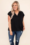 shirt, short sleeve, black, v neck, ruffle sleeve, short sleeve, comfy