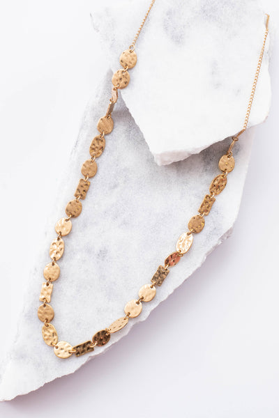 necklace, long, gold, hammered, circle chain link