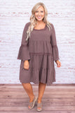 dress, short, long sleeve, bell sleeves, lace details, square neckline, babydoll, tiered, flowy, comfy, mauve, tie back