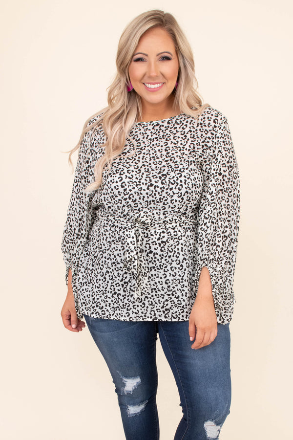 shirt, long sleeve, leopard, ivory, black, comfy, ties at waist