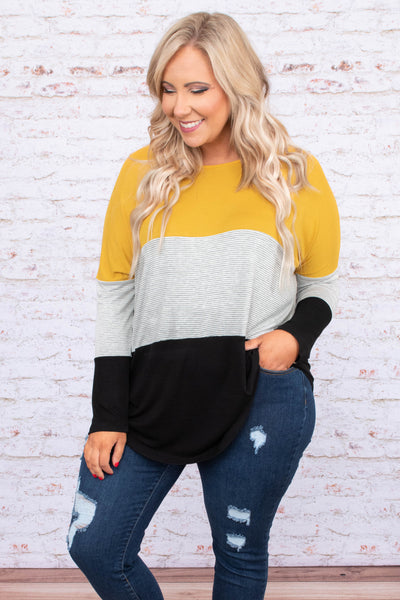 shirt, long sleeve, curved hem, button sides, mustard, gray, white, black, stripes, colorblock, comfy