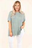 tunic, short sleeve, sage, solid, comfy, flowy, side slits