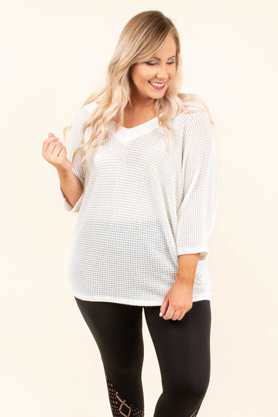 tunic, three quarter sleeve, vneck, loose waffle knit, see through, white, comfy