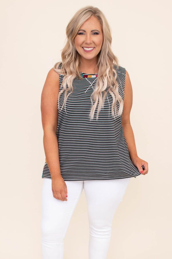 tank, loose, black, white, striped, embroidered neckline, multicolored, comfy, spring, summer