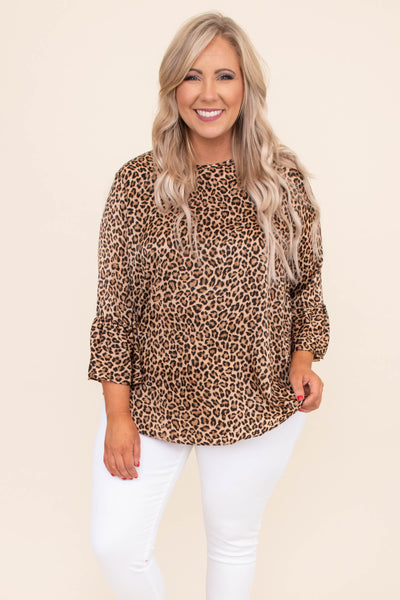 blouse, three quarter sleeve, bell sleeves, brown, black, leopard, loose, comfy