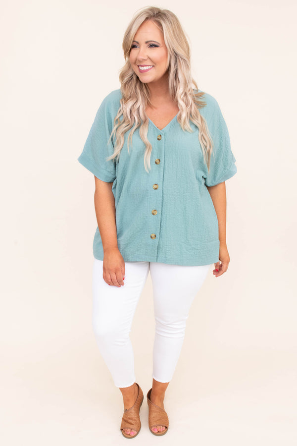 blouse, short sleeve, vneck, button down, loose, green, comfy