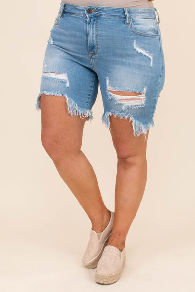 shorts, denim, jeans, bluw, light wash, distressed, ripped, frayed hem, above the knee