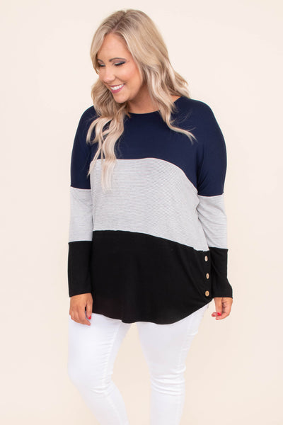 shirt, long sleeve, curved hem, side buttons, long, navy, white, gray, black, colorblock, stripes, comfy