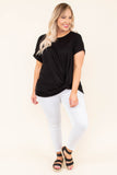 top, twist detail, short sleeve, black, comfy