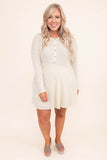 dress, short, long sleeve, babydoll, button top, pockets, ribbed, flowy, tan, comfy