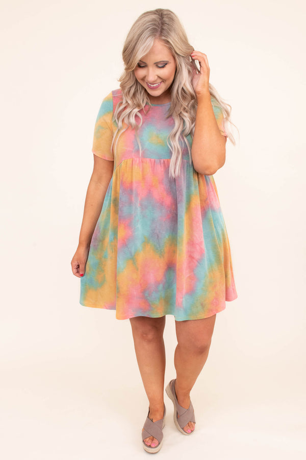 dress, short, short sleeve, babydoll, pockets, flowy, orange, coral, blue, purple, tie dye, comfy, spring, summer