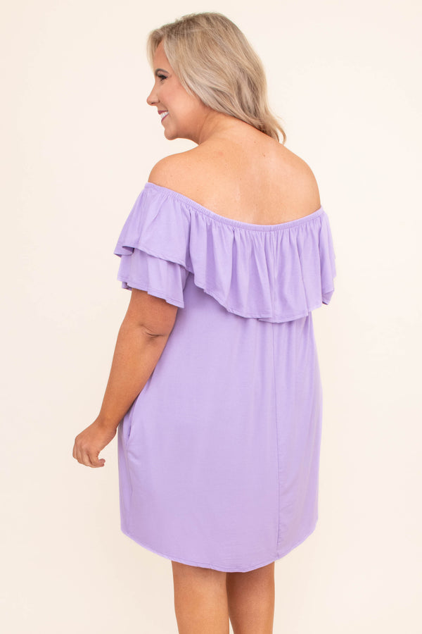dress, short, short sleeve, off the shoulder, ruffle top, pockets, flowy, purple, comfy, spring, summer