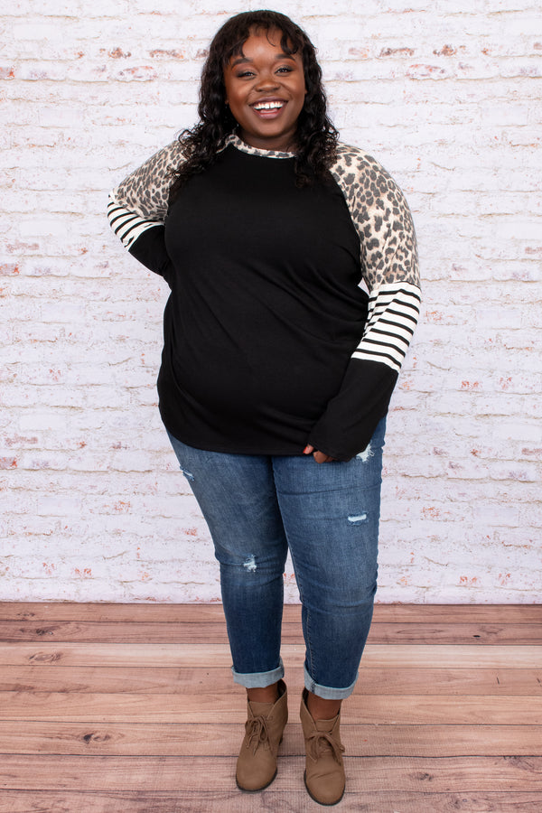 top, black, casual, colorblock, long sleeve, leopard, stripe, tan, taupe, white