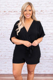 romper, shorts, above the knee, v neck, wrap top, tie at waist, short sleeve, loose sleeves, black, solid, triangle opening on back
