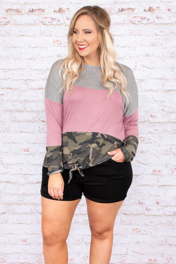Tread Lightly Top, Grey-Mauve