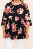 shirt, three quarter sleeve, bell sleeves, babydoll, curved hem, long, flowy, black, floral, red, pink, green, comfy