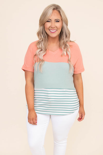 shirt, short sleeve, vneck, curved hem, loose, coral, green, white, stripes, colorblock, comfy