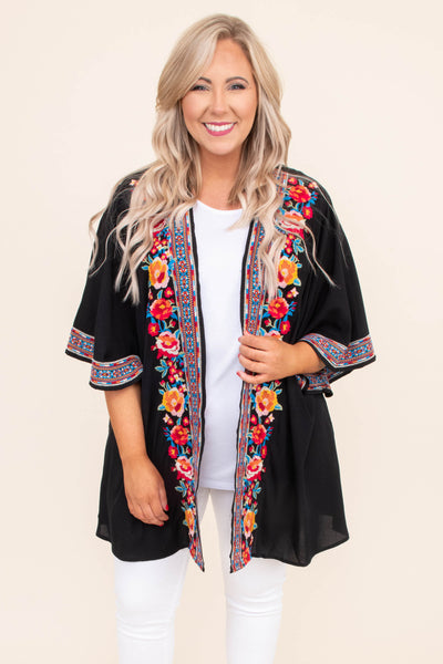 kimono, three quarter sleeve, flowy, wide sleeves, long, thin, black, embroidered, red, orange, blue, green, comfy, outerwear