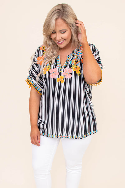 shirt, short sleeve, vneck, pompom sleeve trim, black, white, striped, embroidery, pink, yellow, orange, blue, green, comfy, spring, summer