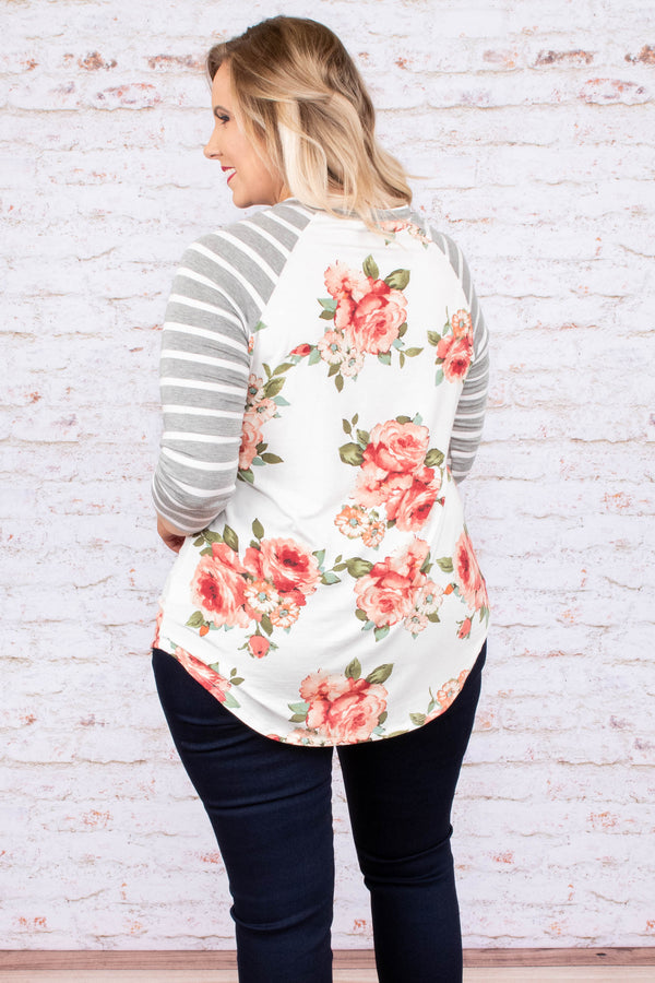 shirt, three quarter sleeve, curved hem, gray, white, striped sleeves, red, green, white, floral, comfy