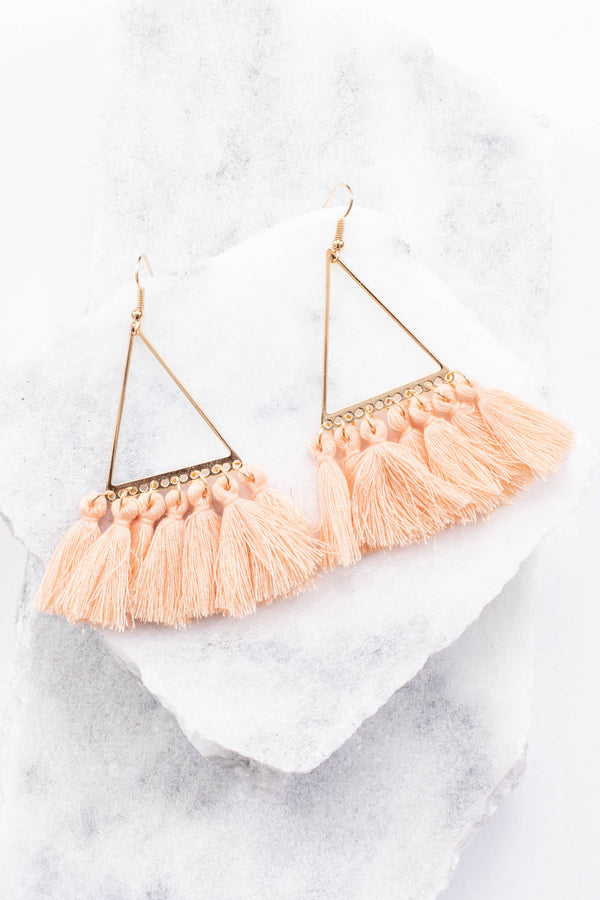earring, fringe, triangle, tassels, peach, gold, hanging