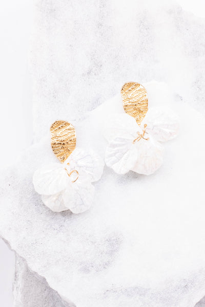 earrings, gold, ivory, circles
