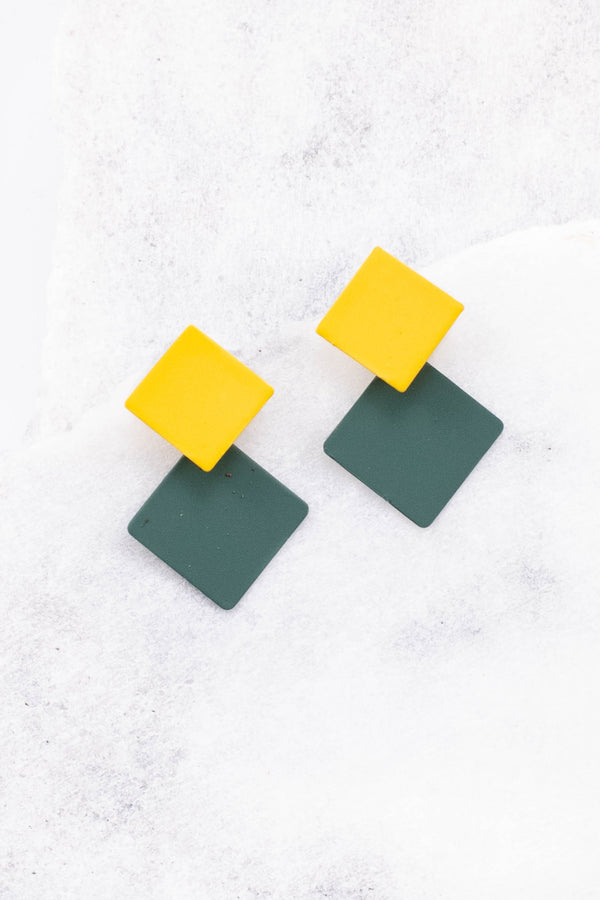 earrings, diamond, geometric, yellow, green, hanging