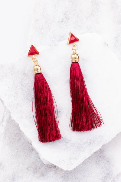 earrings, dangly, triangle, tassel, burgundy, gold