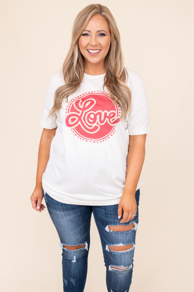 top, tee, white, graphic, short sleeve, love, pink