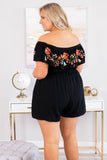 romper, short sleeve, off the shoulder, shorts, pockets, cinched waist, ruffle top, black, embroidered, coral, blue, green, red, comfy, spring, summer