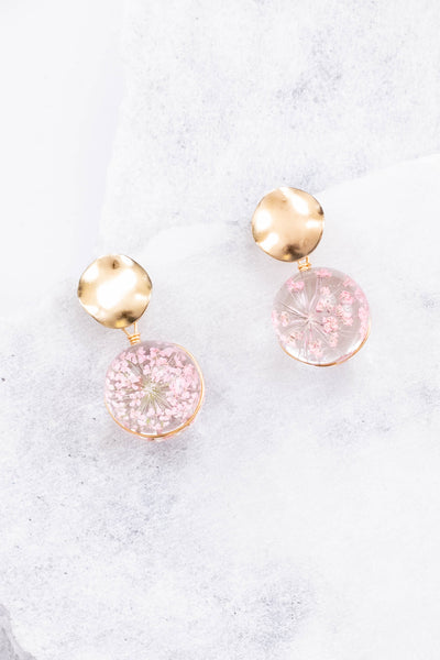 earrings, circles, pink, gold, small, hanging