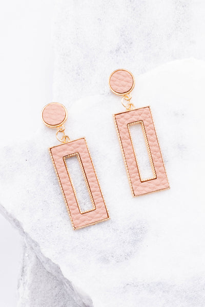 earrings, hanging, blush, gold, rectangles