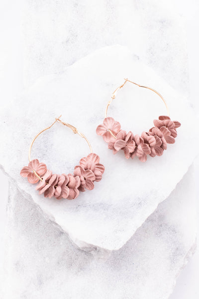 earrings, dangly, hoop, gold, blush, flowers, spring, summer