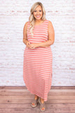 dress, maxi dress, stripes, loose, comfy, pockets, sleeveless, tank top, side slits, spring, summer, long dress, ash rose ivory, pink
